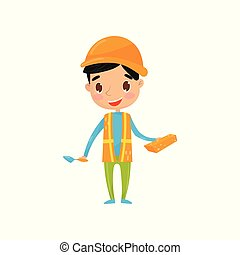 Teen boy in waistcoat with reflective strips and protective helmet, holding brick and trowel. Little kid dressed as builder. Future aspirations and dream profession. Flat vector
