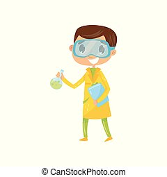 Teen boy interested in becoming famous chemist. Cartoon kid in yellow coat and protective glasses, holding flask with liquid and folder. Dream job. Flat vector design