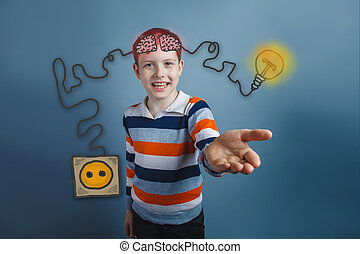 Teen boy laughs and reaches out charging cord plug wire igniter charge and sketch infographics