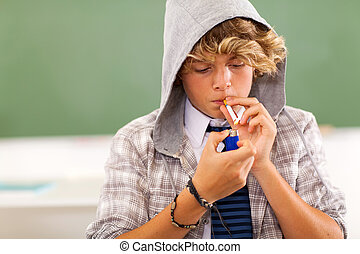 teen boy lighting cigarette - bad high school teen boy...