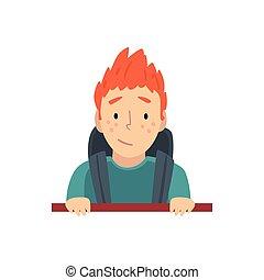 Teen Boy Looking Out from Behind Brick Wall Cartoon Vector Illustration