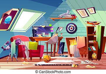 Teen boy messy attic room interior cartoon vector