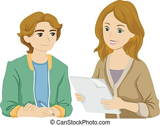 Teen Boy Mother Check Assignment Illustration - Illustration...