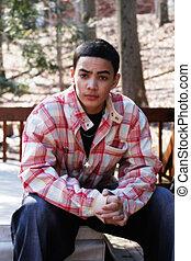 Teen Boy - Multi-cultural teen boy wearing casual clothing;...