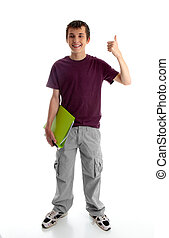 Teen boy or student with thumbs up - A happy male teen...