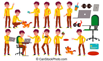Teen Boy Poses Set Vector. Beauty, Lifestyle. Pet, Dog. For Web, Poster, Booklet Design. Isolated Cartoon Illustration