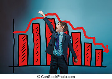 Teen boy raised his hand up shouting businessman chart crisis de