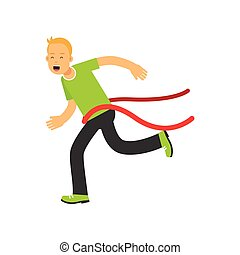 Teen boy running to the finish line first, active lifestyle vector Illustration