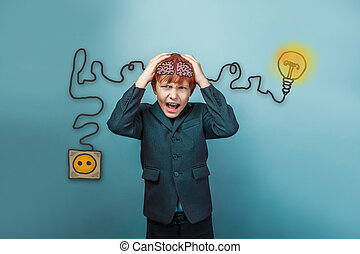 Teen boy screaming businessman holding his head igniter charge charging cord plug wires and sketch infographics
