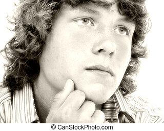 Teen Boy Sepia