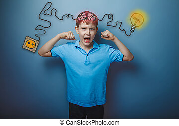 Teen boy shows the strength of his hands and shouts charging cord plug wire igniter charge and sketch infographics