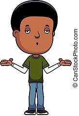 A cartoon illustration of a teenage boy shrugging.