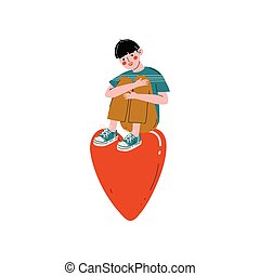 Teen Boy Sitting on a Huge Red Heart, Happy Valentine Day Vector Illustration