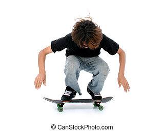 Teen Boy Skateboard - Teen boy with skateboard over white....