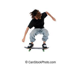Teen Boy Skateboard - Teen boy with skateboard jumping over...