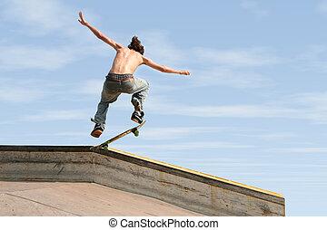 Teen Boy Skateboarding Outdoors 3