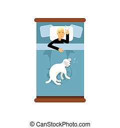 Teen boy sleeping in the bed with his dog, view from above cartoon vector illustration