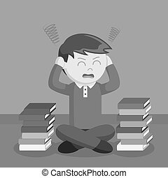 Teen boy stress out with school books