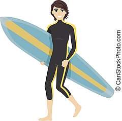 Teen Boy Surfer - Illustration of a Teenage Boy Carrying a...