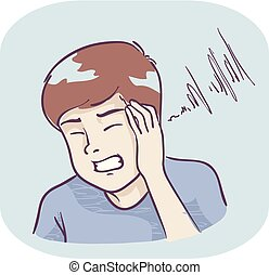 Illustration of a Teenage Guy Covering Ears, Hearing Piercing Sound