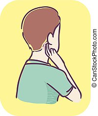 Illustration of a Teenage Boy with Pain Behind and Under the Ear