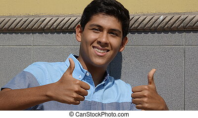 Teen Boy Thumbs Up