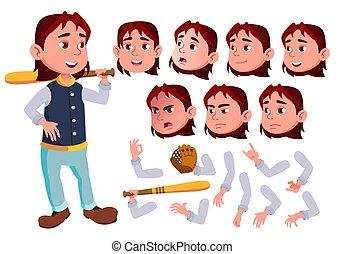 Teen Boy Vector. Teenager. Cute, Comic. Joy. Face Emotions, Various Gestures. Baseball Sport Player. Animation Creation Set. Isolated Flat Cartoon Character Illustration