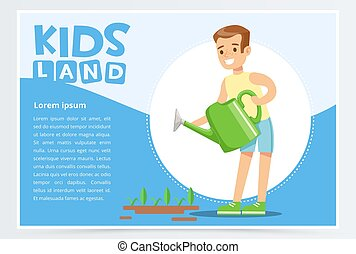 Teen boy watering plants with a watering can, eco concept, organic gardening, kids land banner flat vector element for website or mobile app