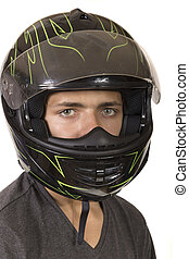 Teen Boy Wearing A Crash Helmet