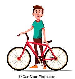 Teen Boy With Bicycle Vector. City Bike. Outdoor Sport Activity. Eco Friendly. Isolated Illustration