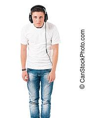 Teen boy with headphones
