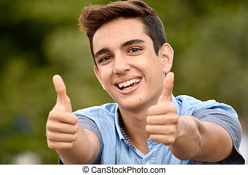 Teen Boy With Thumbs Up
