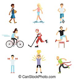 Teen boys and girls engaging in different sports activities, active lifestyle, sportive children practicing in class gym and outdoors cartoon vector Illustrations