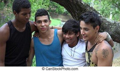 Teen Boys Diverse Friends