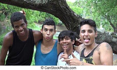 Teen Boys Having Fun  Friends