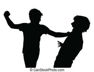 Teen Boys In Fist Fight Silhouette - Image of Teen Boys In...