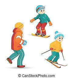 Teen boys skiing, snowboarding, playing snowballs