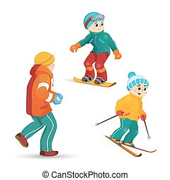 Teen boys skiing, snowboarding, playing snowballs