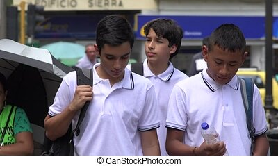 Teen Boys Students Walking
