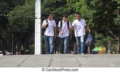 Teen Boys Walking To School