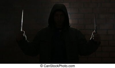 Teen breathing heavily in a dark room - A man with knives...