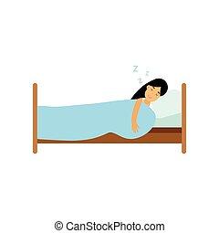 Teen brunette girl sleeping in her bed cartoon vector illustration