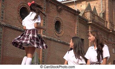 Teen Catholic School Girl Dancing
