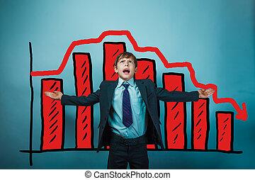 teen chłopiec, jego, upadek, boki, wykres, herb napięty, biznesmen, kryzys, poza