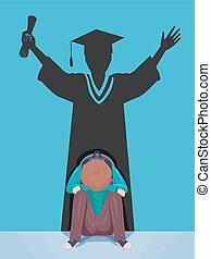 teen chłopiec, kropla, ilustracja, absolwent, cień, poza
