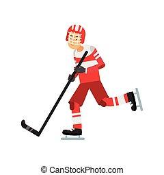 teen chłopiec, styl życia, lód, gracz, hokej, wektor, ilustracja, czynny, grając hokej