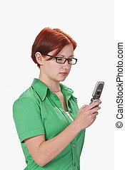 Teen checking her mobile