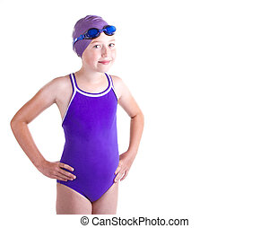 Teen competitive swimmer, smiling, isolated on a white...