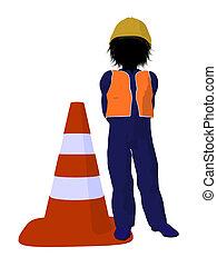 Teen Construction Worker Illustration - Teen construction...