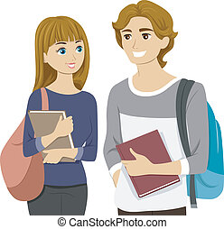 Teen Couple - Illustration of a Teen Couple Chatting at...
